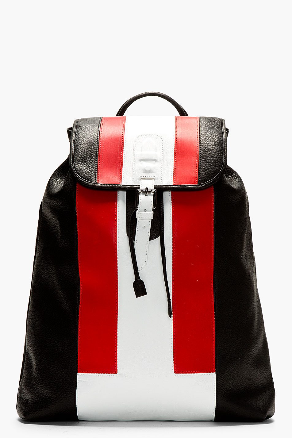 Neil Barrett Black Leather Colorblocked Backpack In Red