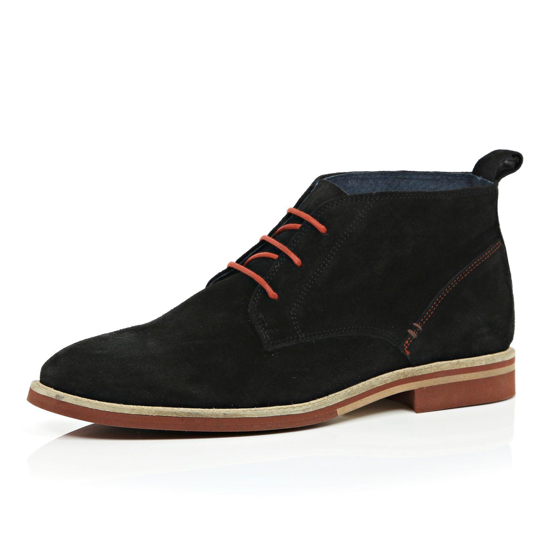 river island black suede colour lace desert boots in black