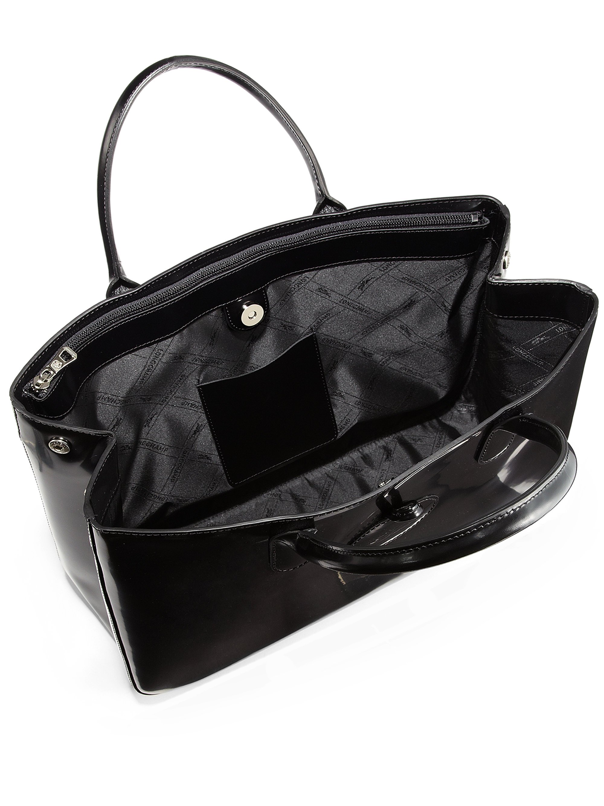 Lyst - Longchamp Roseau Large Patent Leather Box Tote in Black 5c3d0a59b6464