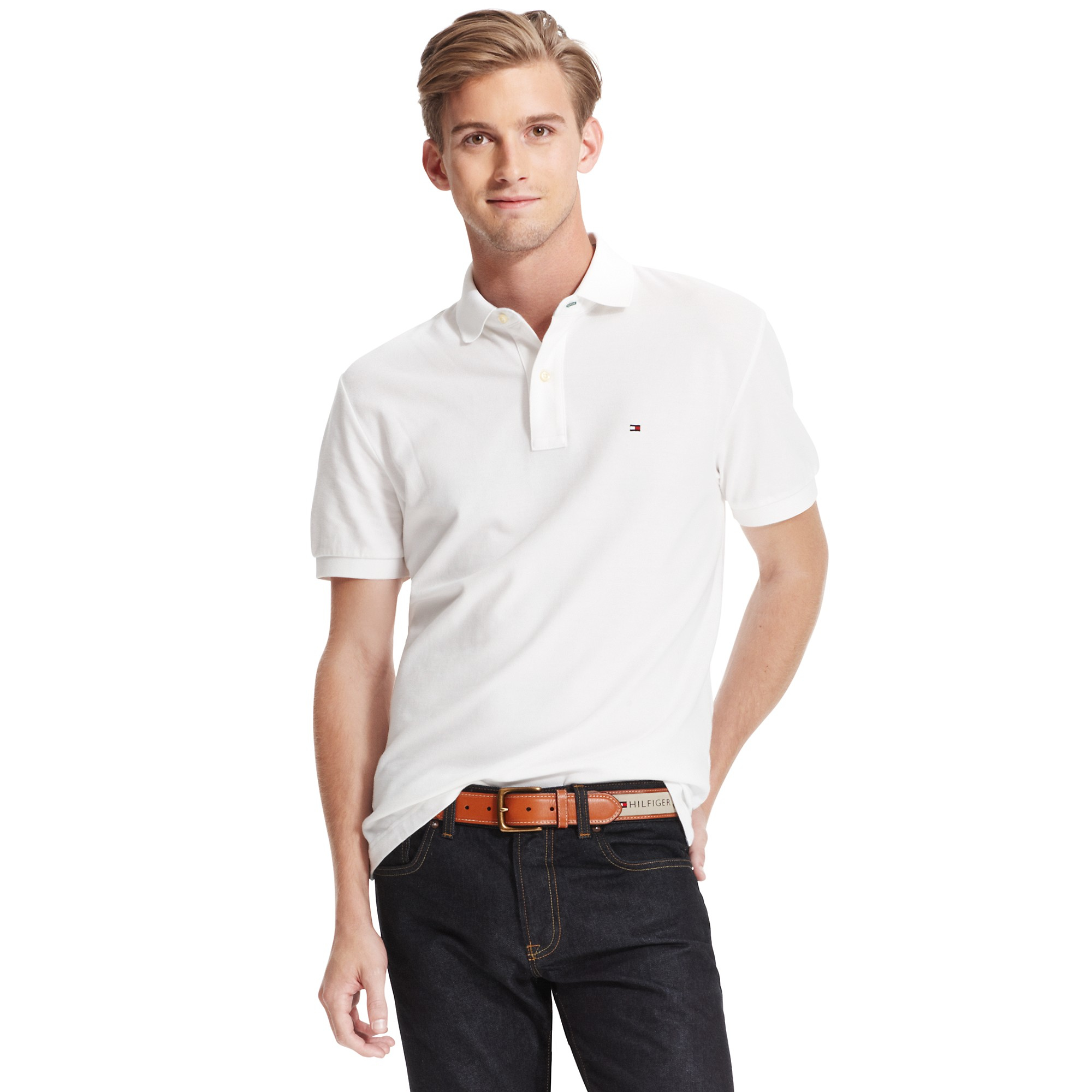 Tommy hilfiger classic fit tommy polo in white for men for Tommy hilfiger vintage fit shirt