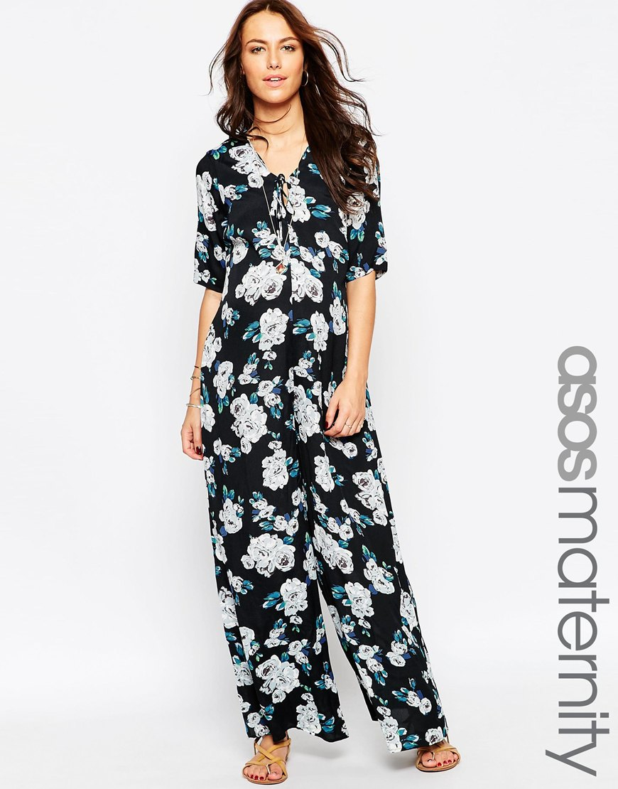 d135ca1443e9 Lyst - ASOS Maternity Scallop Wide Leg Jumpsuit In Floral Print With ...