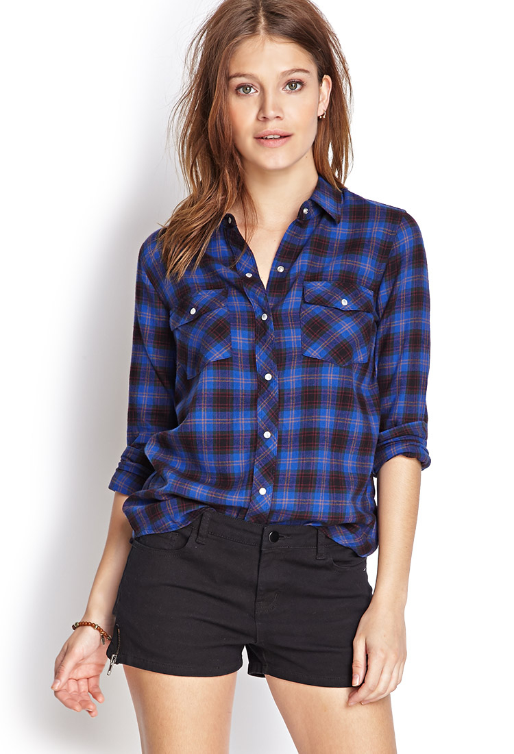 Lyst forever 21 snap button flannel shirt in blue for Flannel shirts for womens forever 21