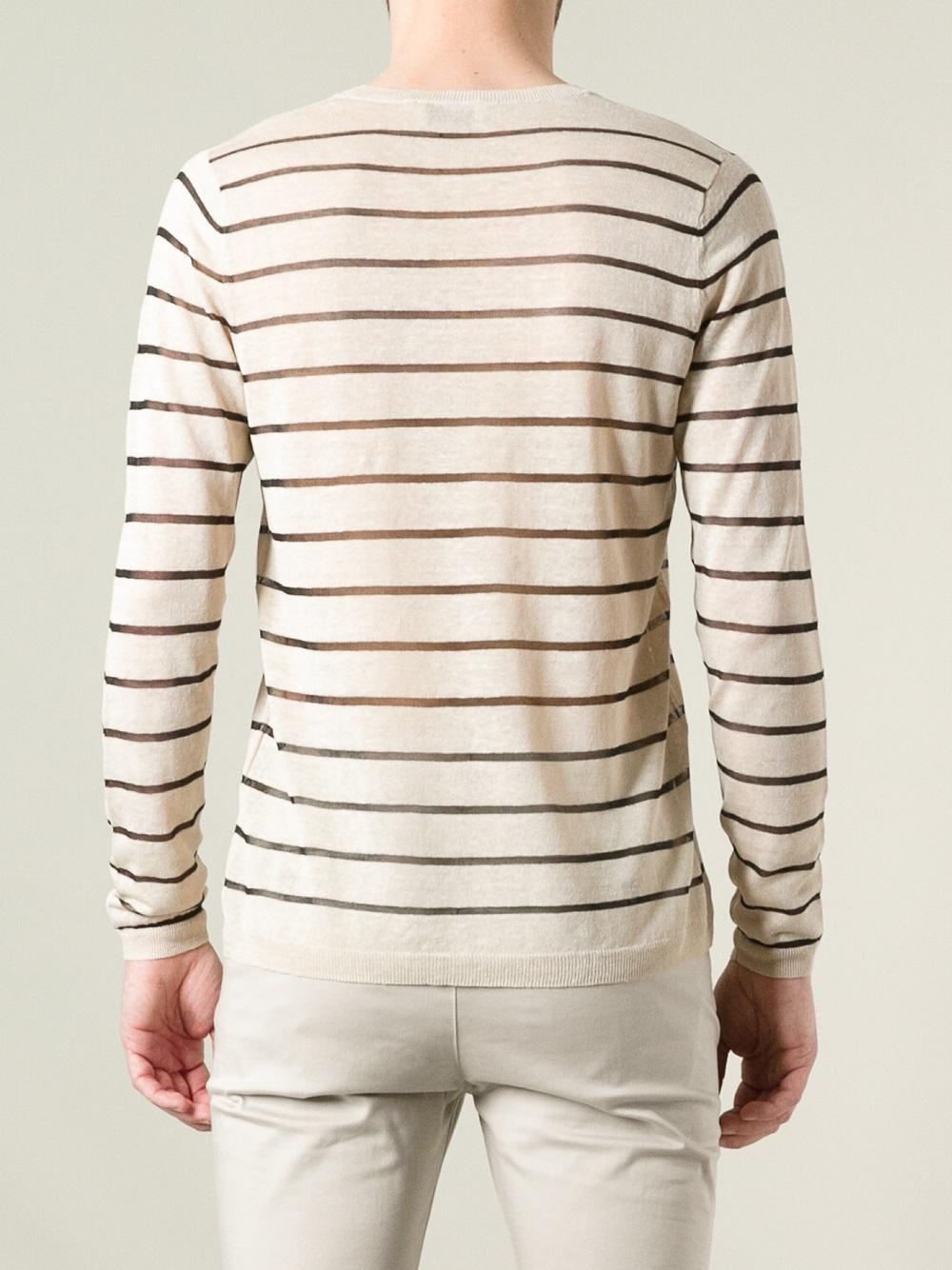 Acne Studios Striped Sweater in Natural for Men