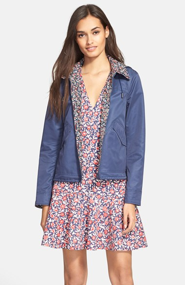 Lyst tory burch reversible hooded jacket in blue for Tory burch fashion island