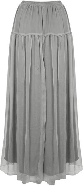 topshop chiffon maxi skirt in gray grey lyst