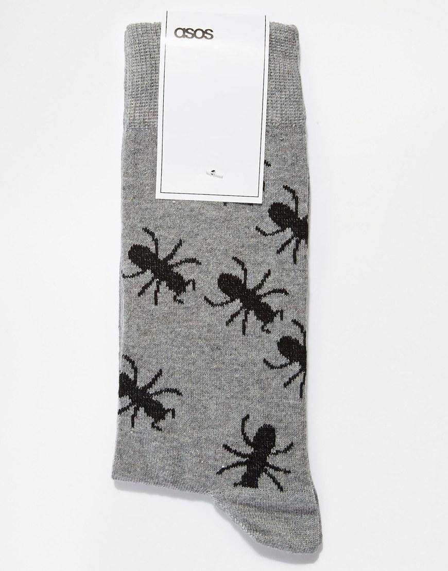 ASOS Gray Socks with Ant Design for men