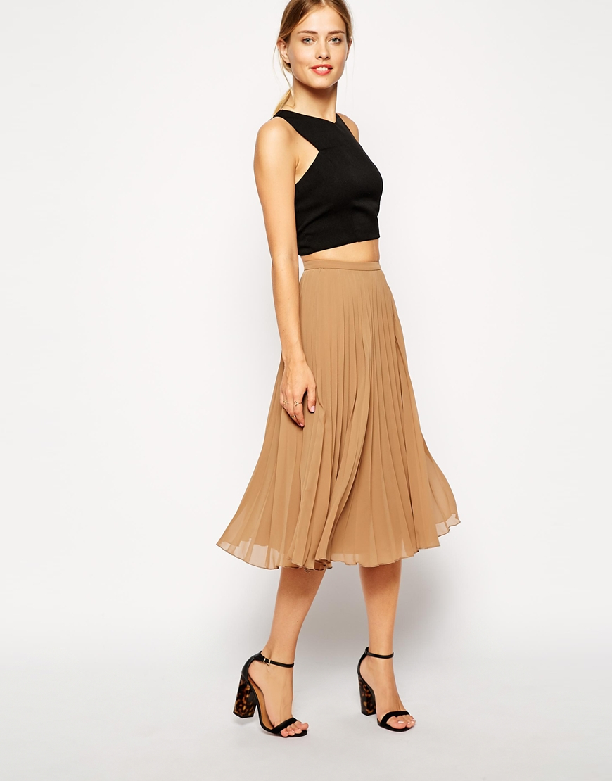 Asos Pleated Midi Skirt in Natural | Lyst