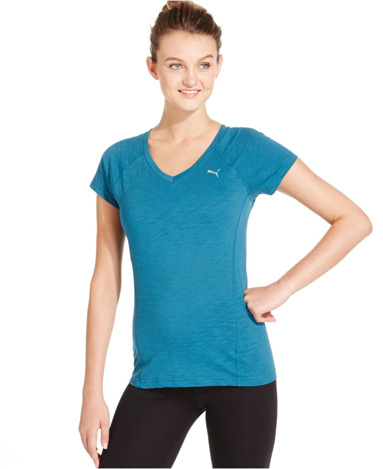 Lyst Puma V Neck Short Sleeve T Shirt In Blue
