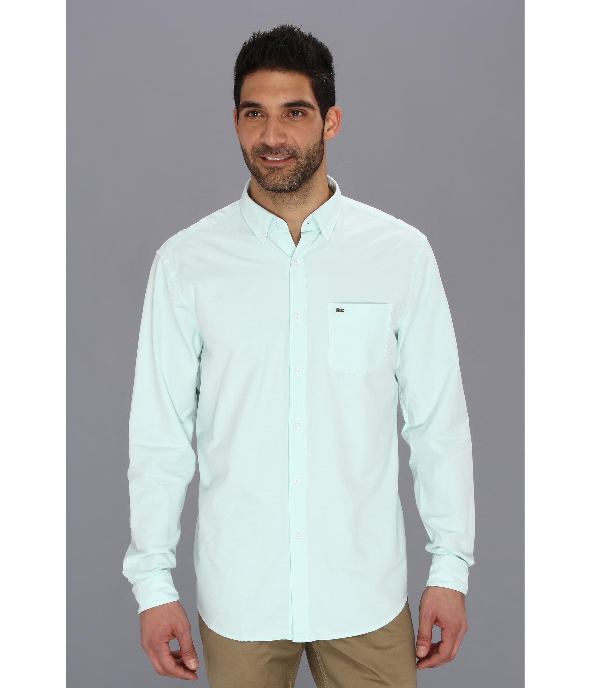 79c48213de Lacoste Green Long Sleeve Button Down Oxford Woven Shirt for men