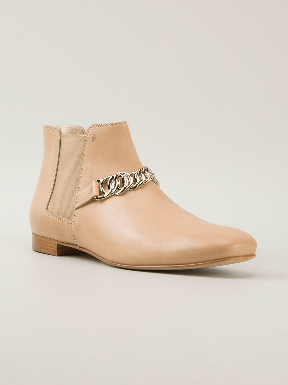 tod 39 s low chelsea boot in beige nude neutrals lyst. Black Bedroom Furniture Sets. Home Design Ideas