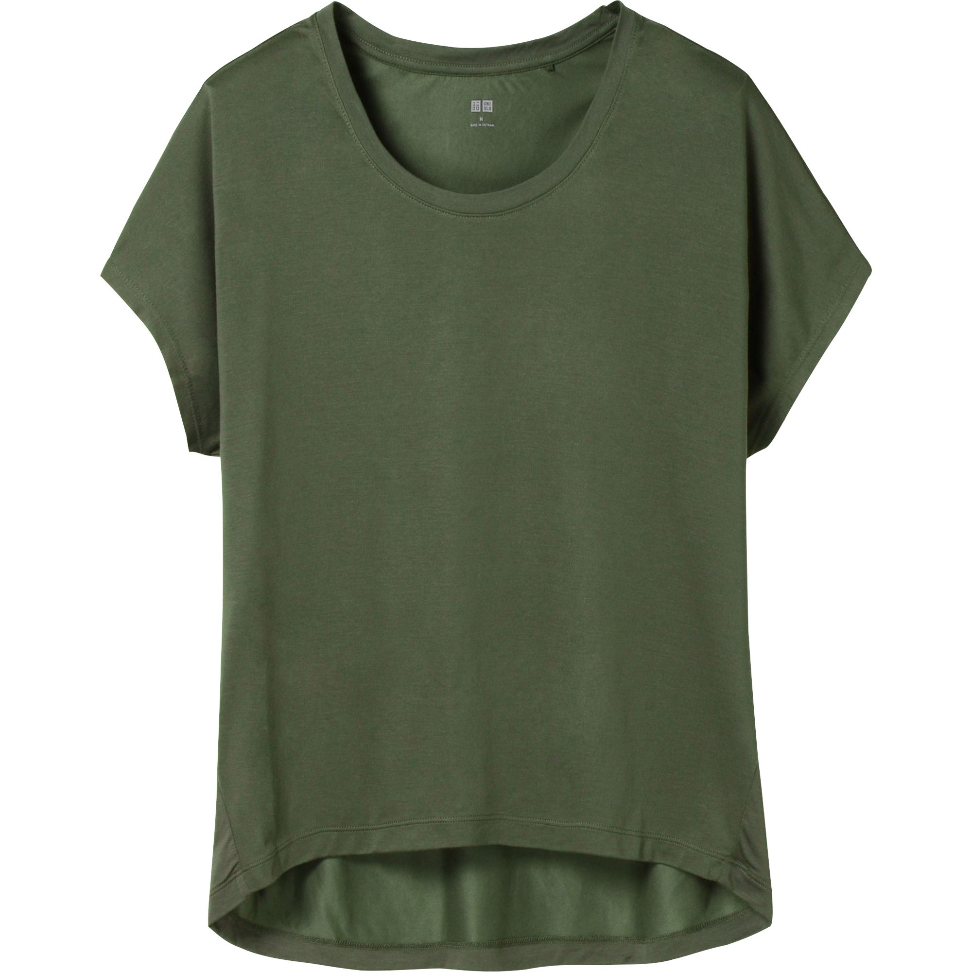 Uniqlo Women Drape Short Sleeve T Shirt In Green Olive