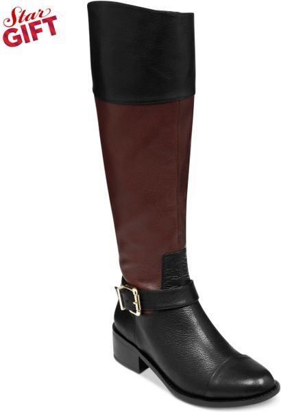 vince camuto leisha 2 wide calf boots in brown black
