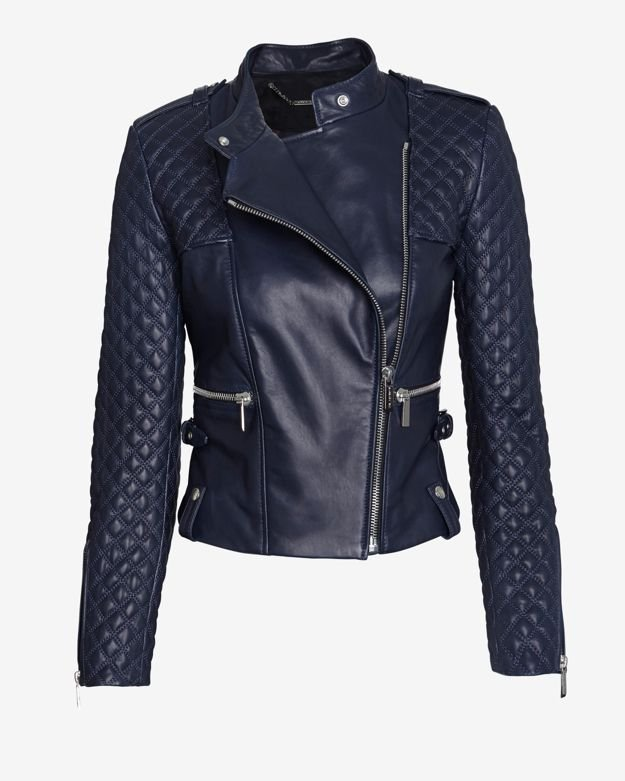 Barbara Bui Exclusive Moto Leather Jacket Navy In Blue
