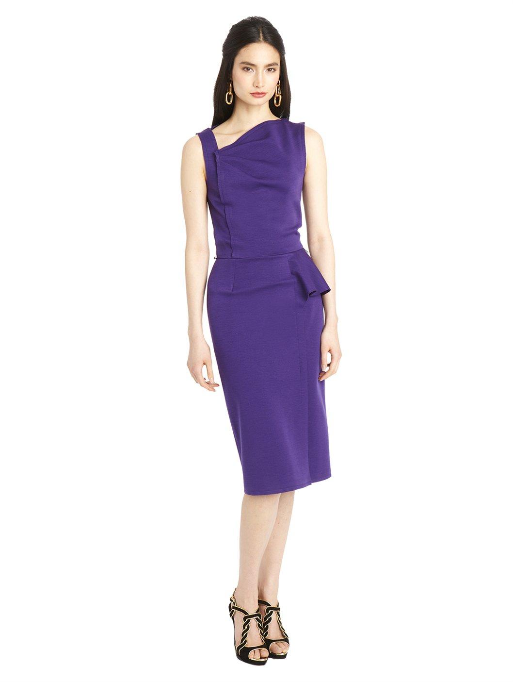 Lyst - Oscar De La Renta Ottoman Jersey Pencil Dress in Purple