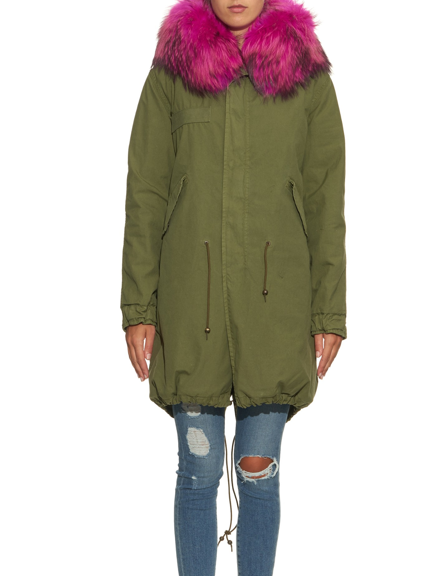 Mr Amp Mrs Italy Fur Trim Cotton And Canvas Blend Parka In