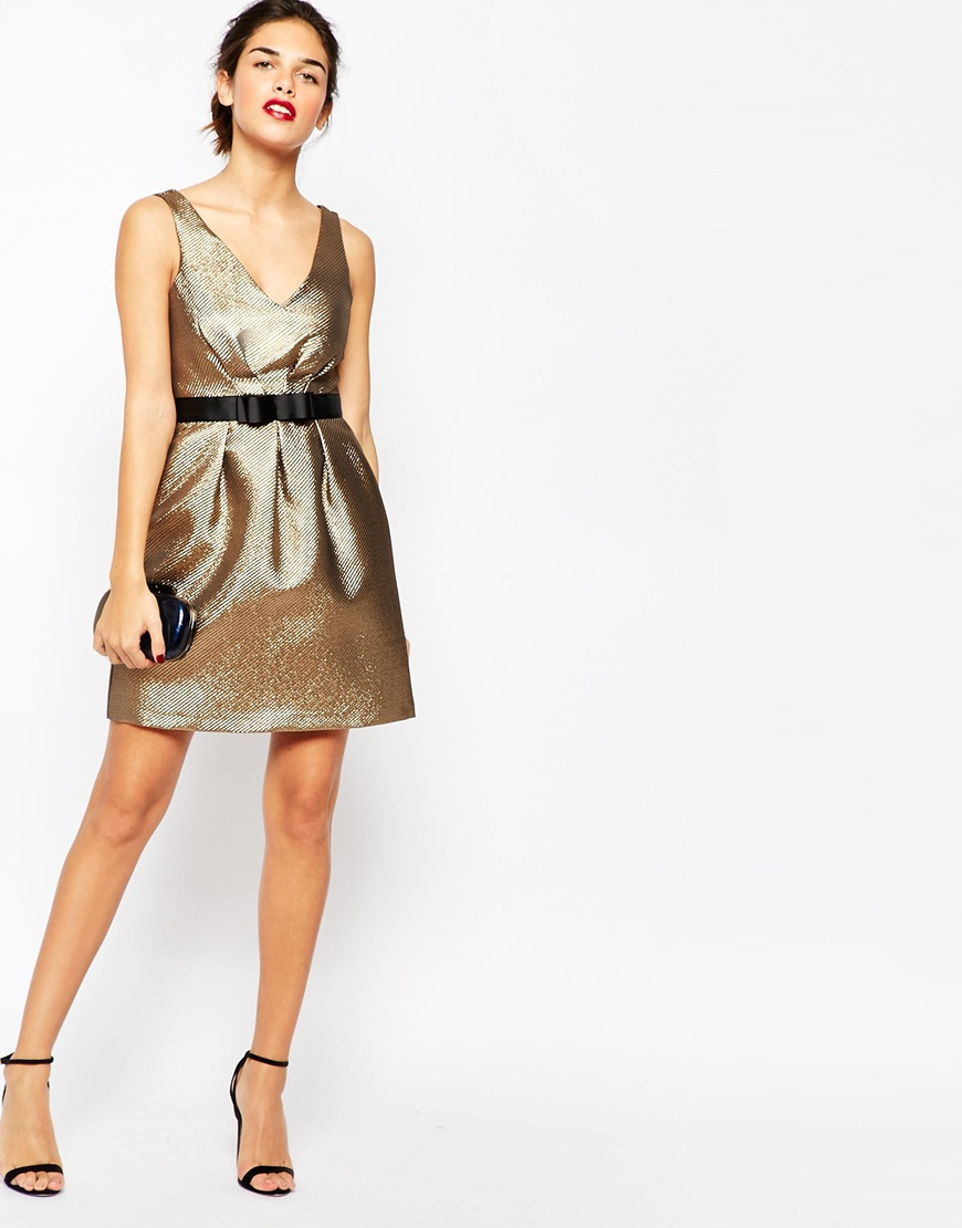 warehouse gold jacquard prom dress in gold lyst