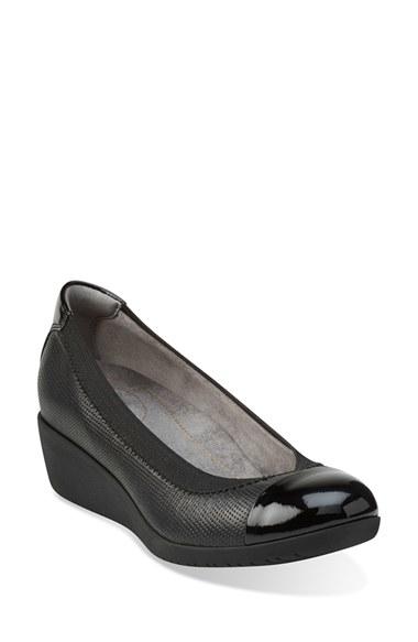 e0c510b892e6 Lyst - Clarks Petula Sadie Cap-Toe Leather Wedges in Black