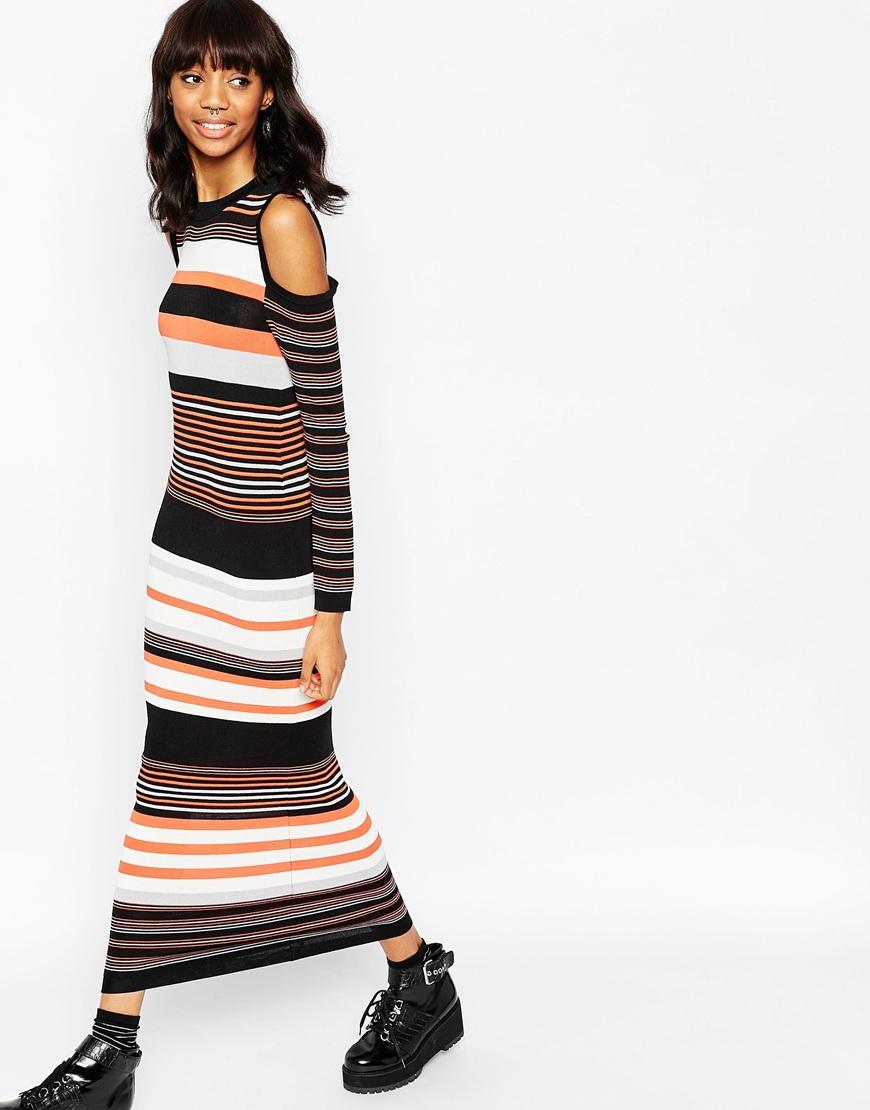 lyst asos maxi dress in stripe knit and cold shoulder. Black Bedroom Furniture Sets. Home Design Ideas