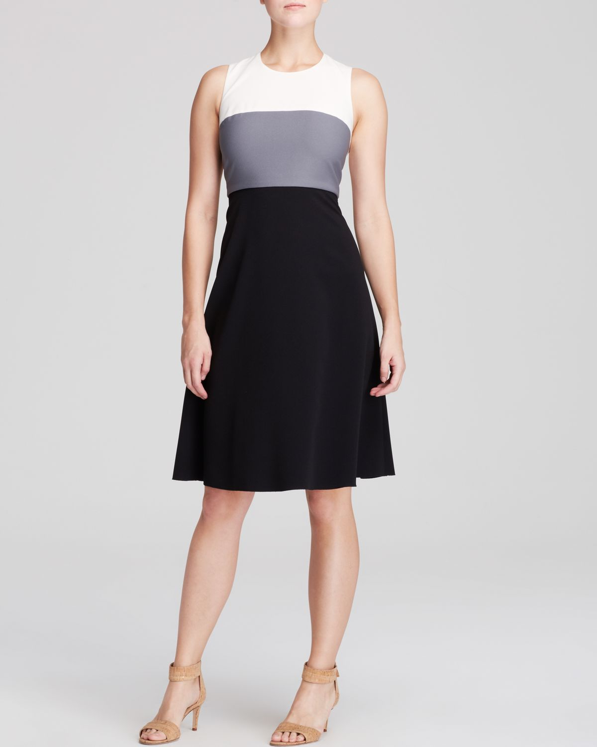 Anne Klein Dress Sleeveless Color Block Fit And Flare In