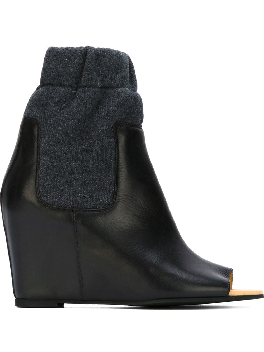 mm6 by maison martin margiela peep toe leather and cotton