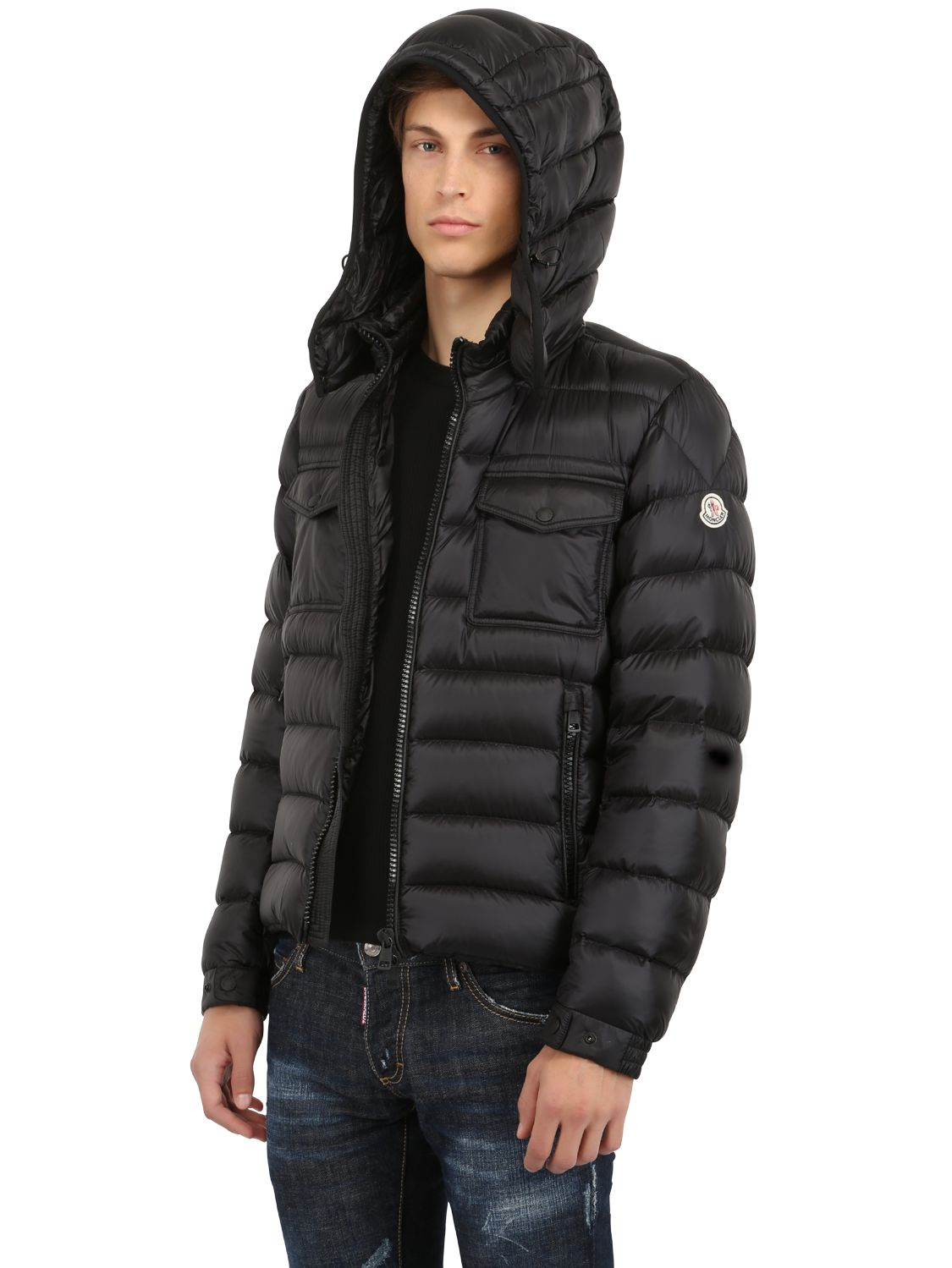 moncler edward nylon down jacket in black for men lyst. Black Bedroom Furniture Sets. Home Design Ideas