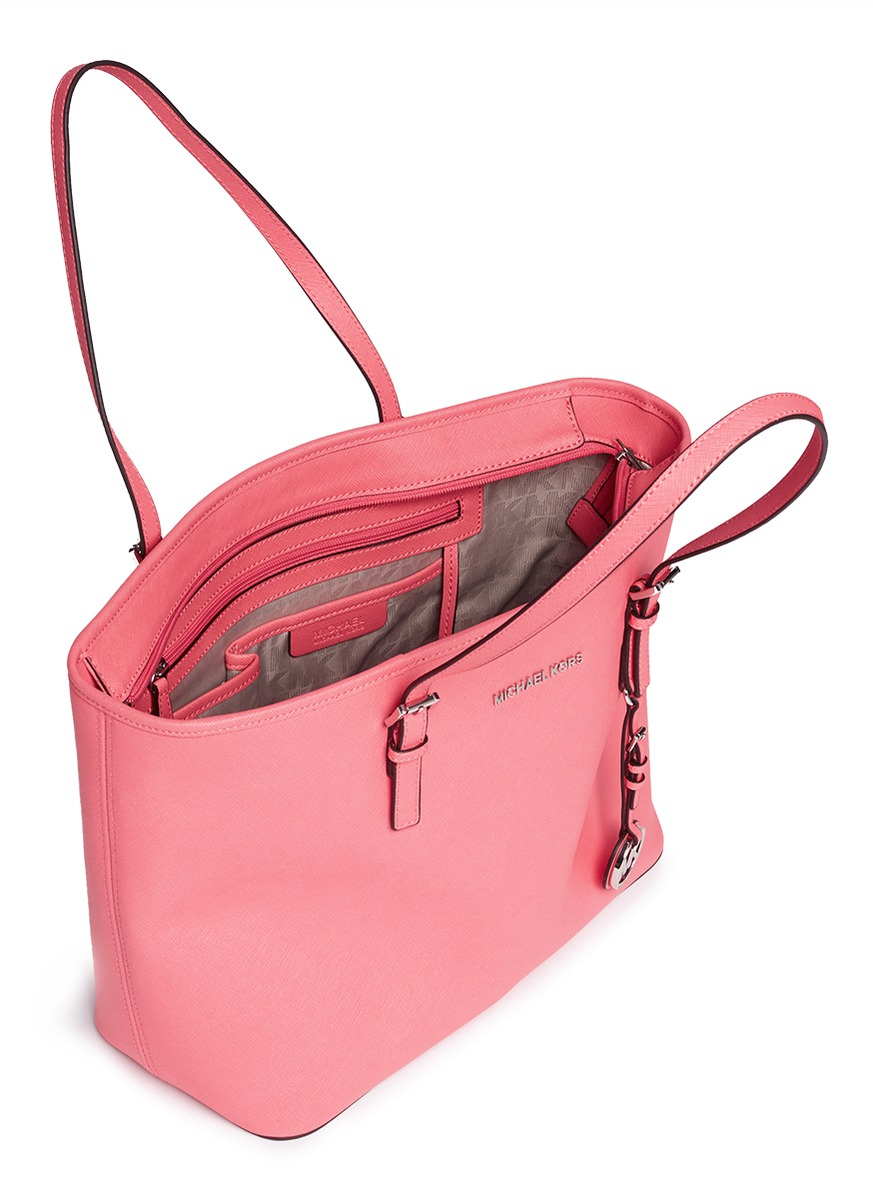 8f04ccef8311 Michael Kors 'jet Set Travel' Saffiano Leather Top Zip Tote in Pink ...