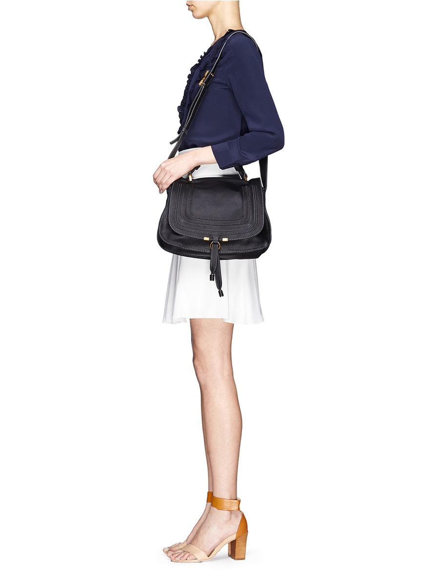 Chlo�� Marcie Medium Leather Shoulder Bag in Black | Lyst