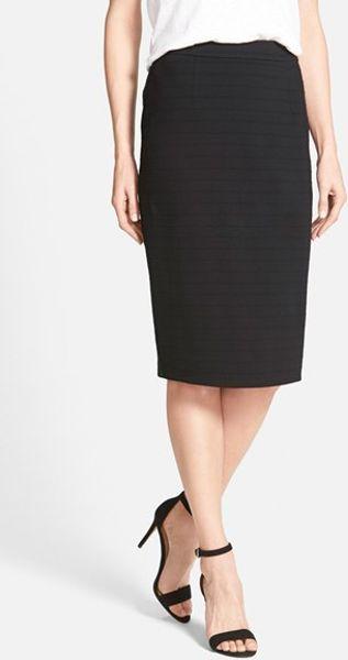 halogen back zip stripe ponte pencil skirt in black lyst