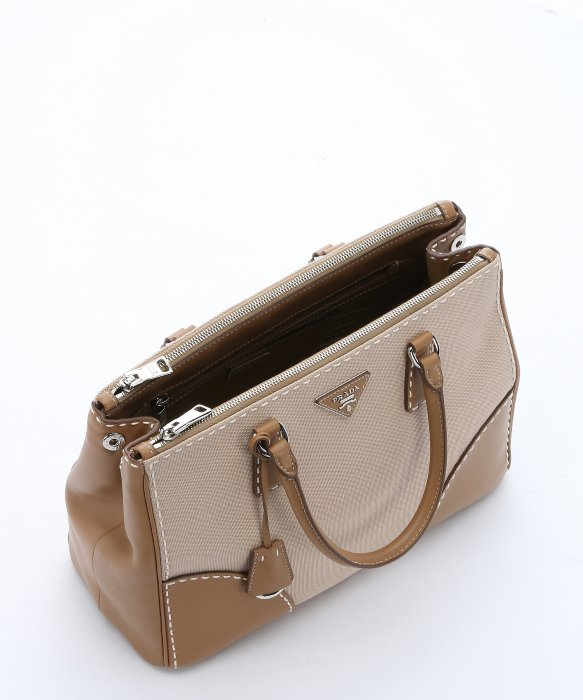 Prada Khaki Canvas And Leather Convertible Top Handle Bag in Khaki ...