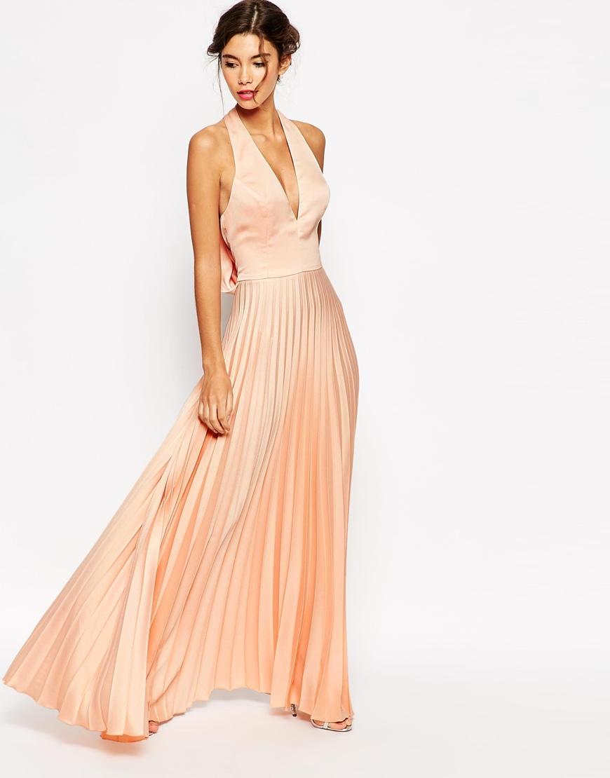 Lyst asos wedding pleat deep plunge maxi dress for Robe maxi mariage asos