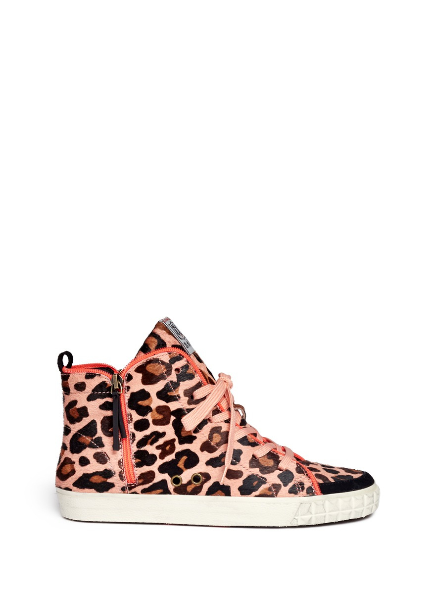ash leopard print neon trimmed sneakers in pink animal print multi colour lyst. Black Bedroom Furniture Sets. Home Design Ideas
