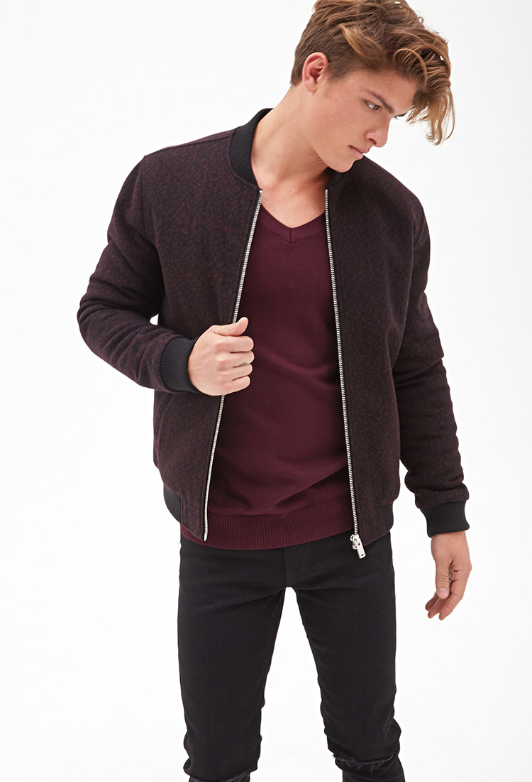 Forever 21 Abstract Bomber Jacket In Purple For Men Lyst