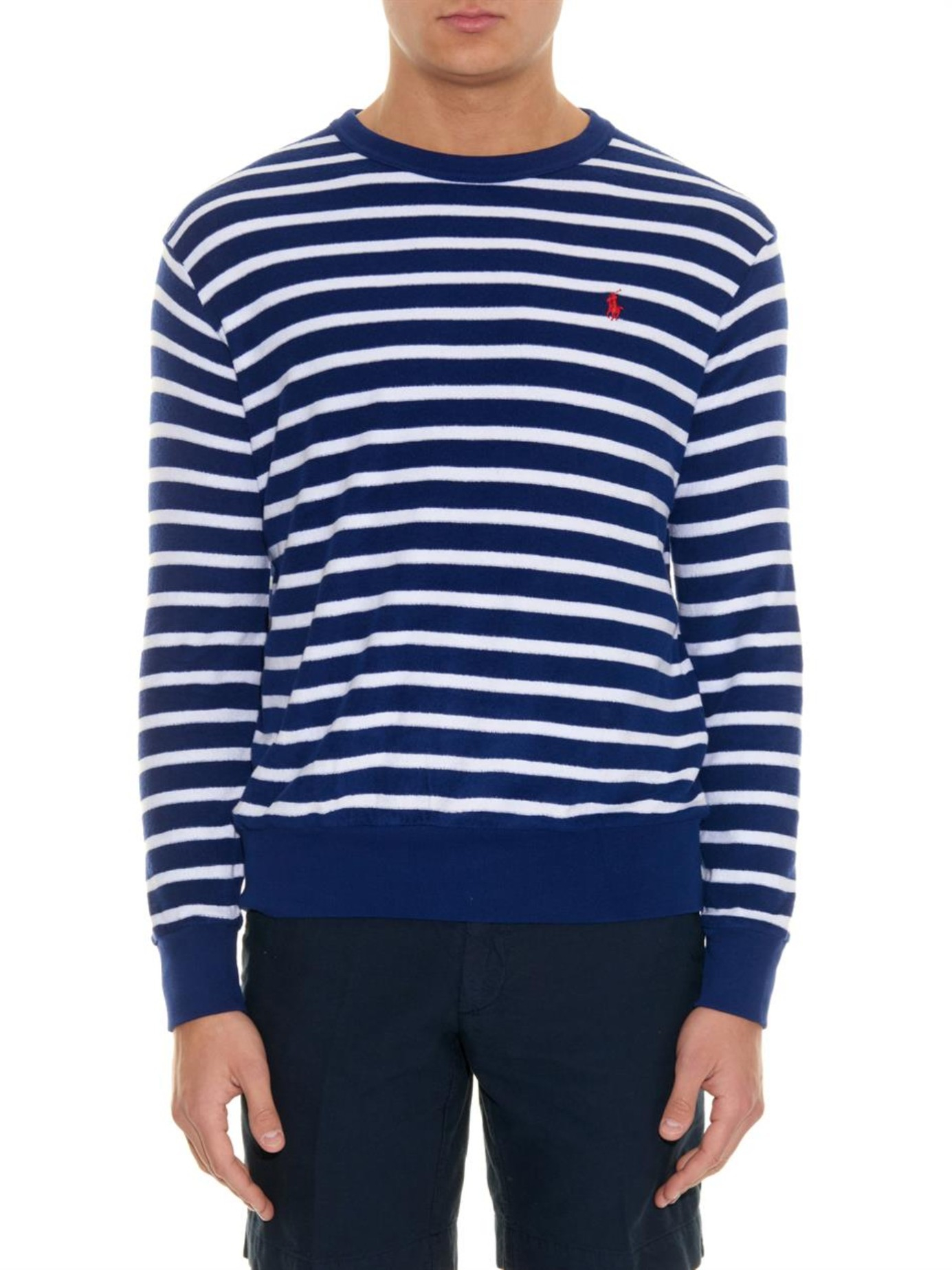 Lyst polo ralph lauren striped terry towelling long for Xlt long sleeve polo shirts