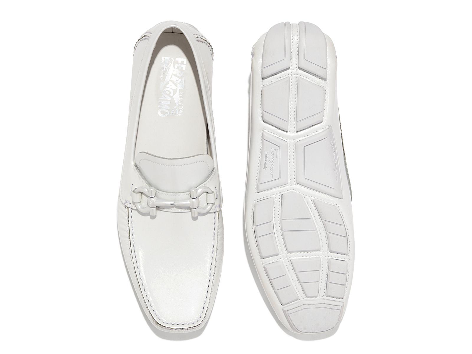 ferragamo gancio bit driver shoe in white for lyst