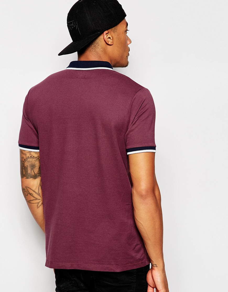 Asos Polo Shirt With Contrast Collar And Tipping In Purple