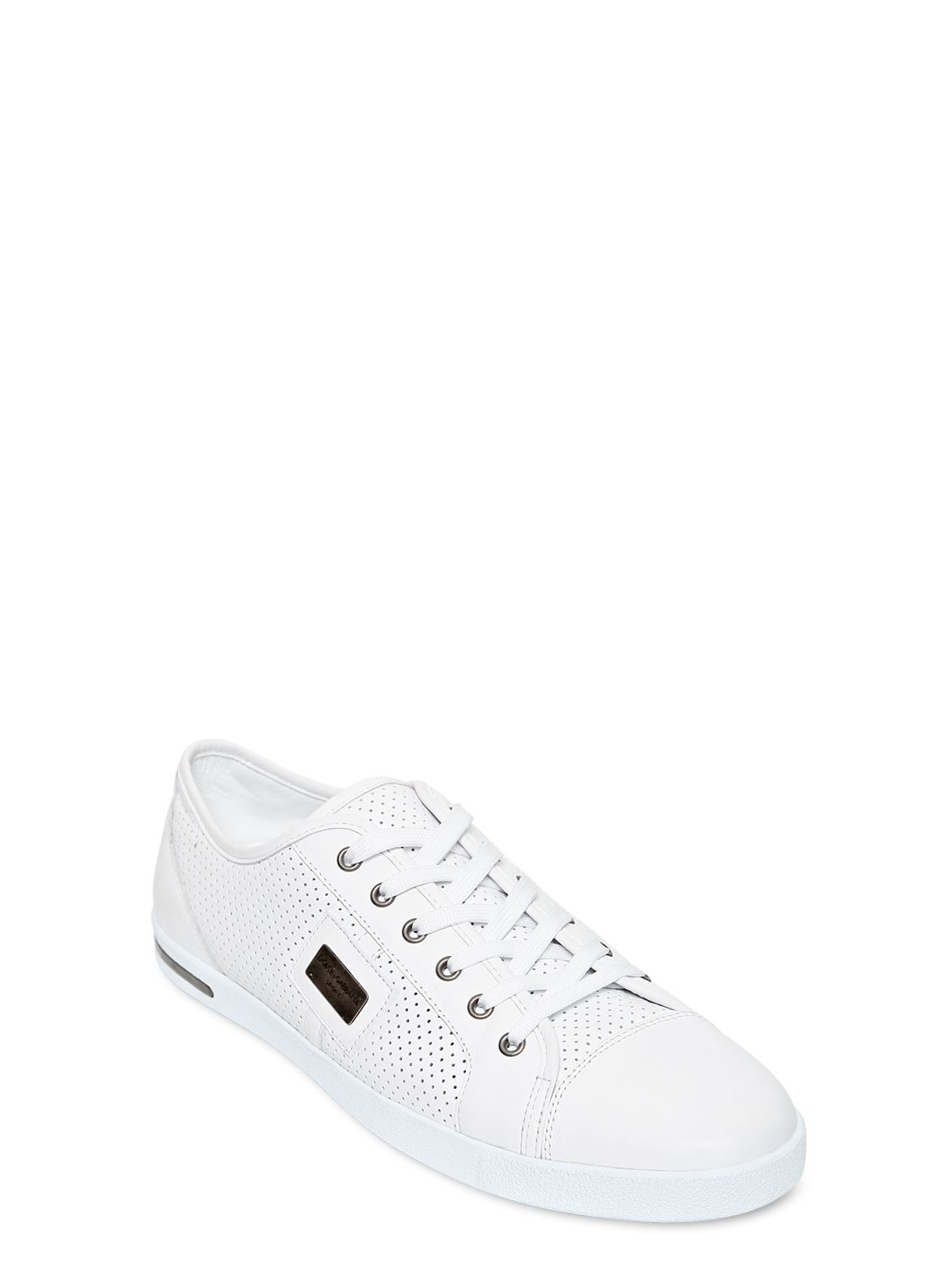 dolce gabbana uk perforated leather sneakers in white