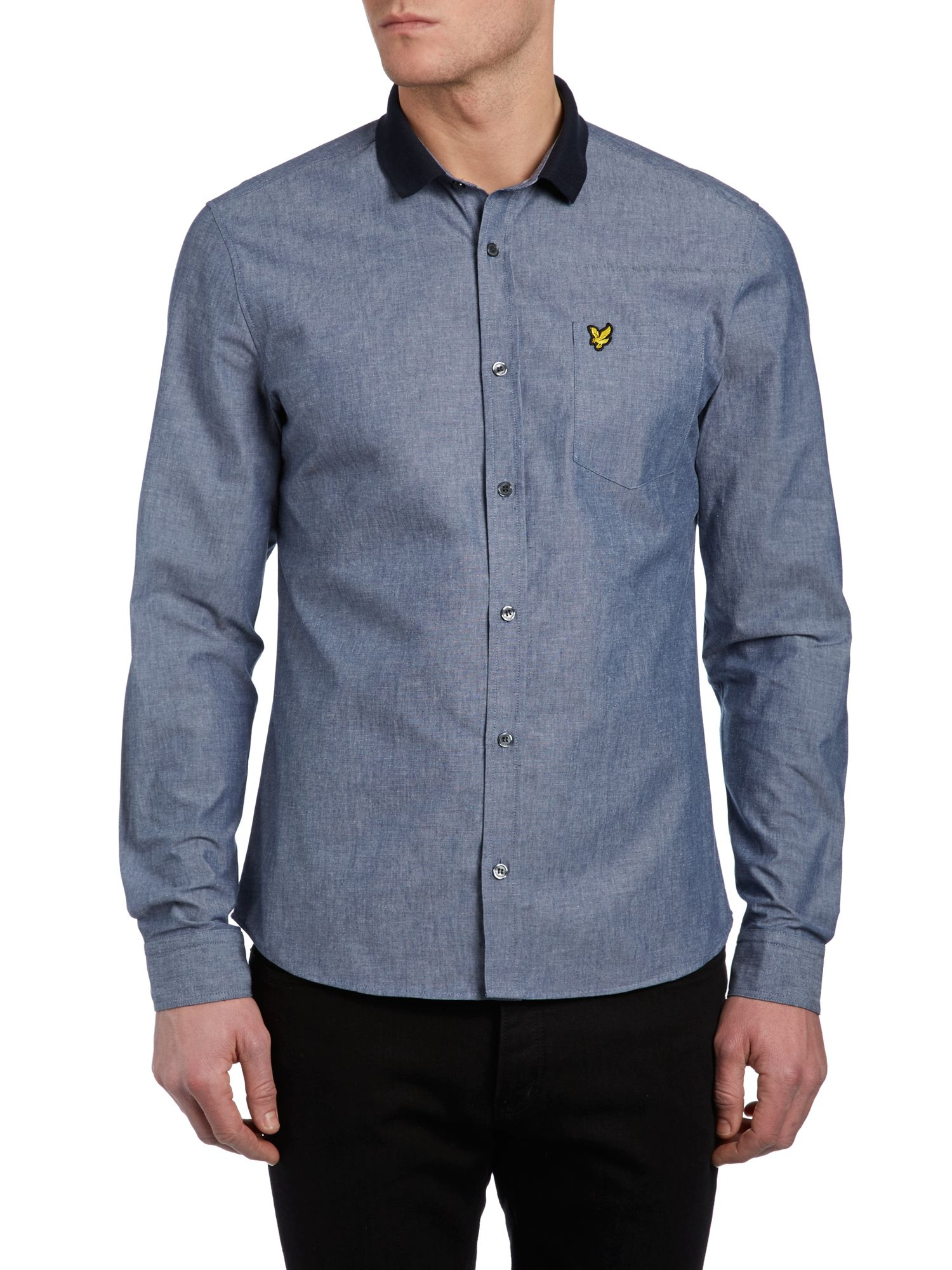 Lyst lyle scott long sleeve chambray shirt in blue for men for Chambray long sleeve shirt