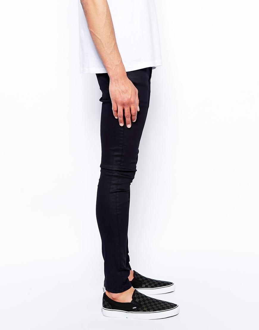 Asos Extreme Super Skinny Jeans In Coated Black in Black for Men ...