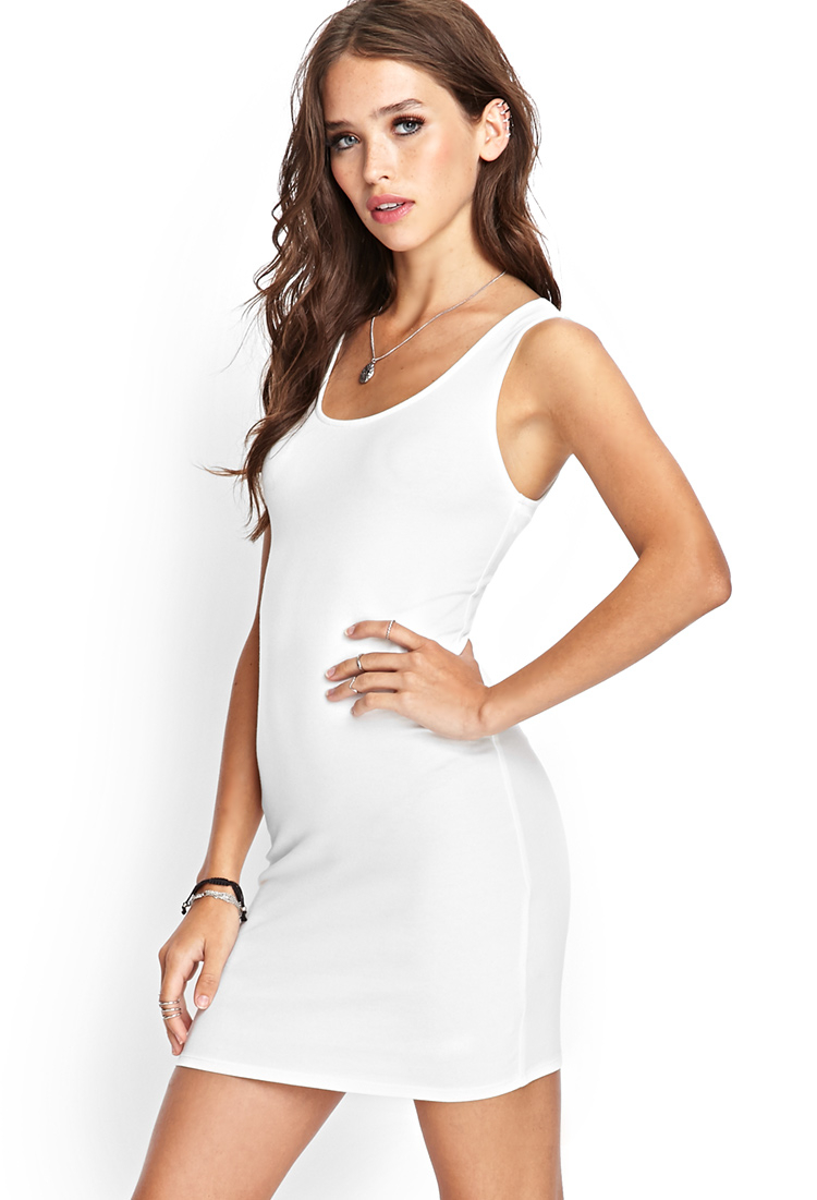 00553dff5a Forever 21 Crossback Bodycon Dress in White - Lyst