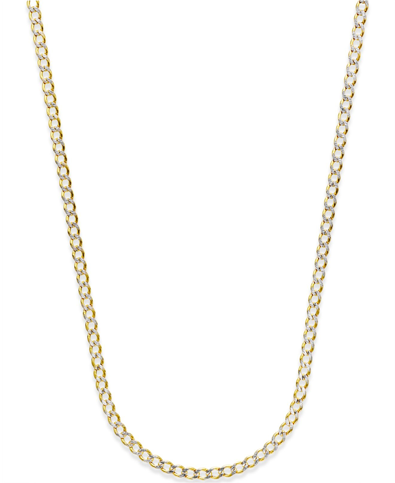 Macy S Diamond Cut Hollow Curb Link Chain In 14k Gold In
