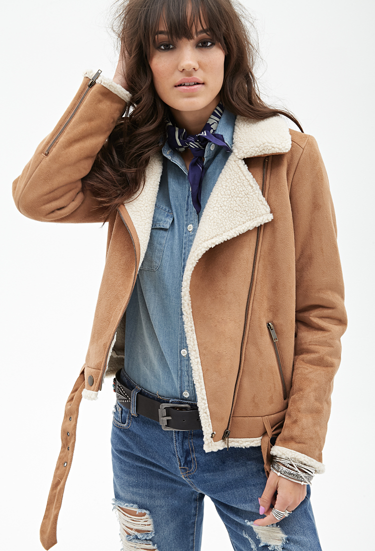 Forever 21 Faux Suede Aviator Jacket In Natural Lyst