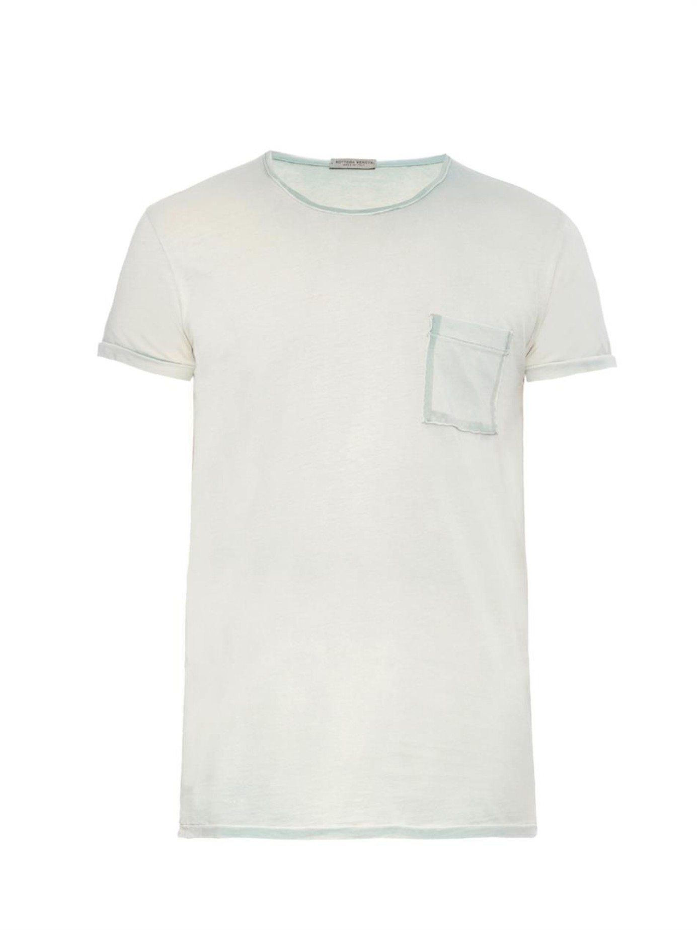 Bottega veneta crew neck cotton jersey t shirt in green for Bottega veneta t shirt