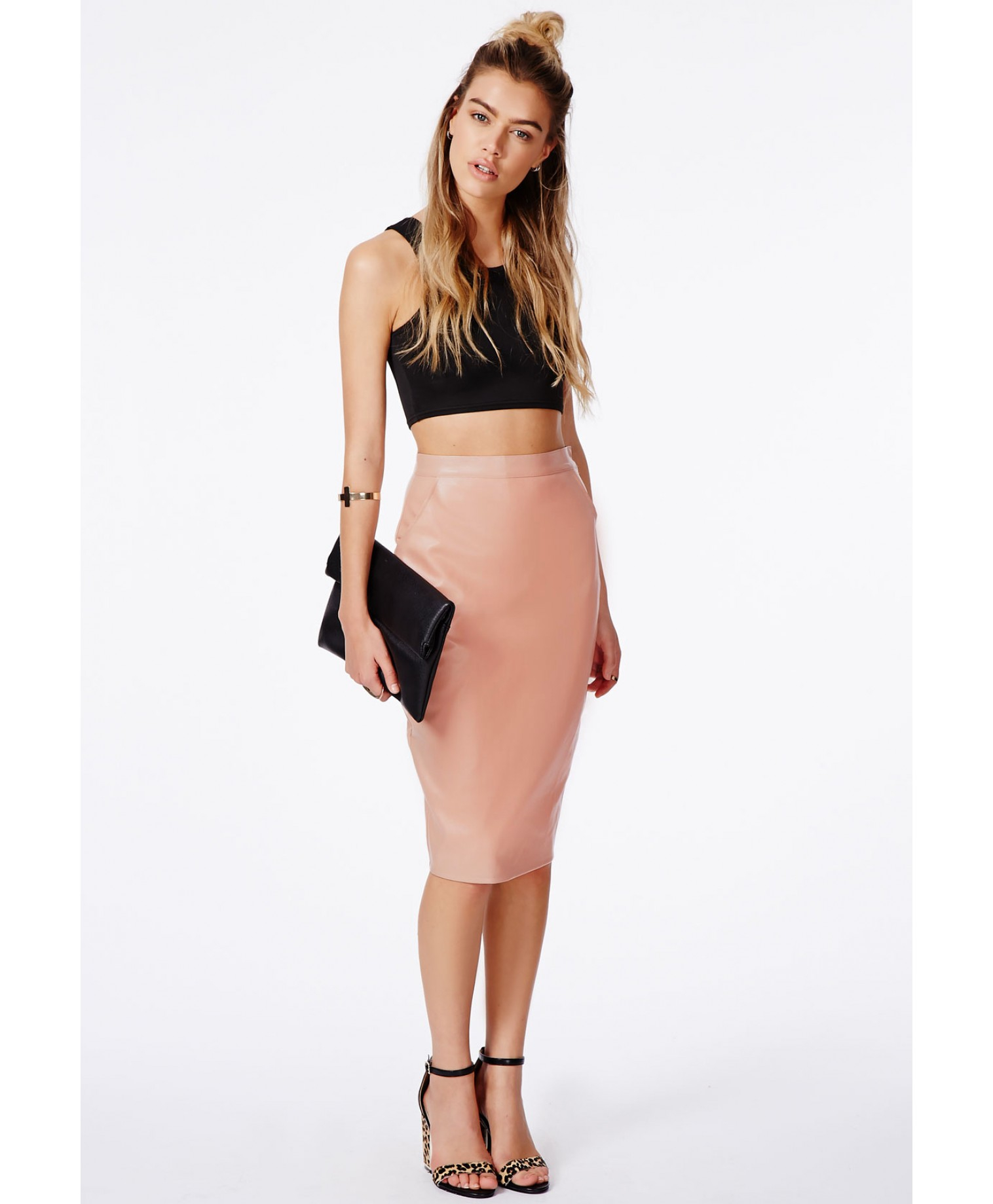 Missguided Mariota Peach Faux Leather Pencil Skirt in Orange | Lyst