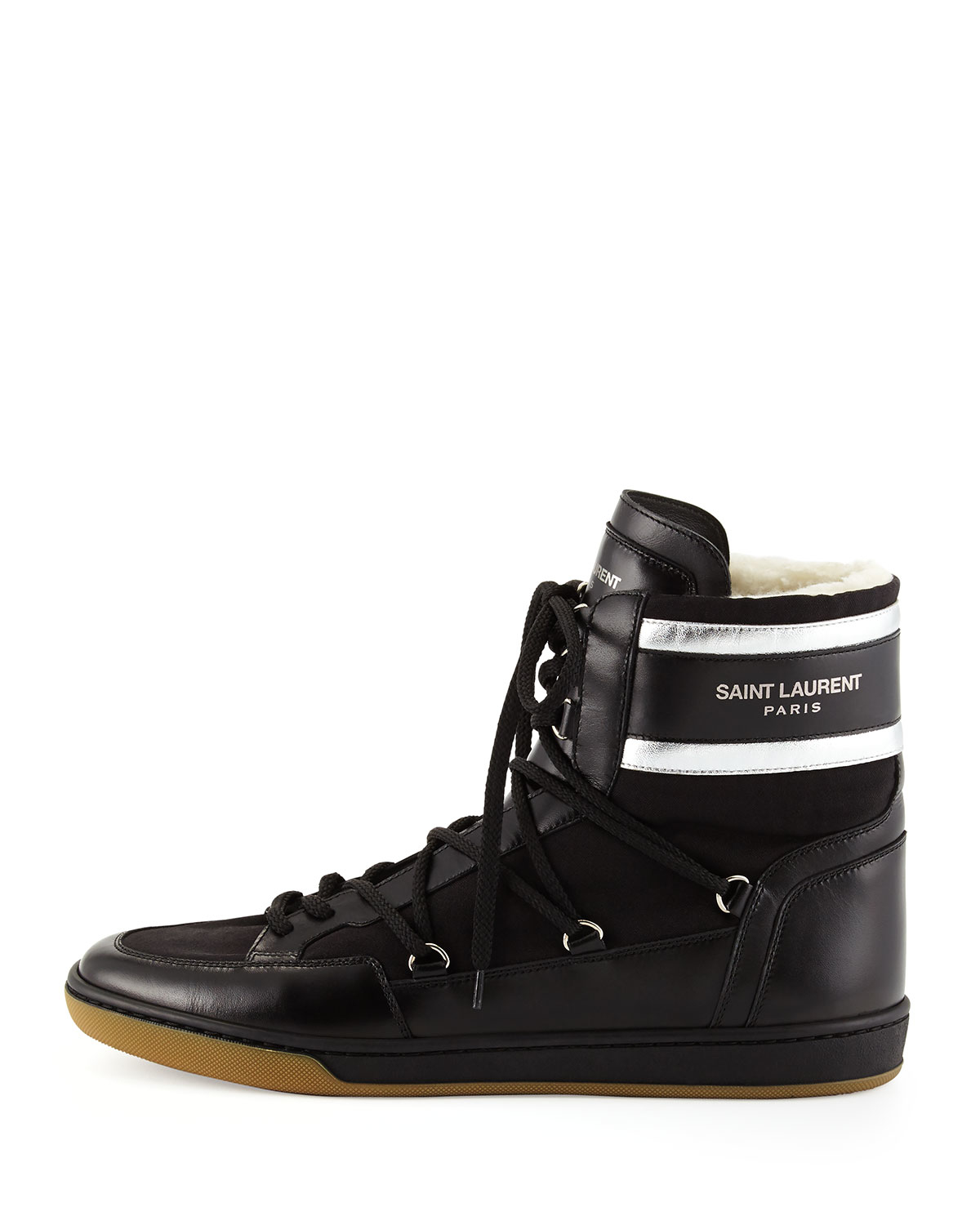 lyst saint laurent fur lined leather high top sneakers in black. Black Bedroom Furniture Sets. Home Design Ideas
