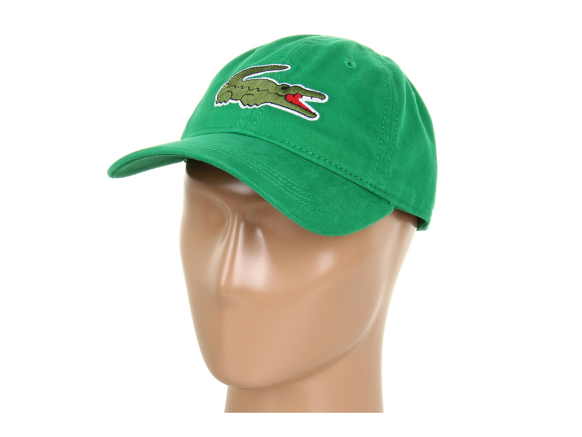 dde85f62c Lyst - Lacoste Large Croc Gabardine Cap in Green for Men