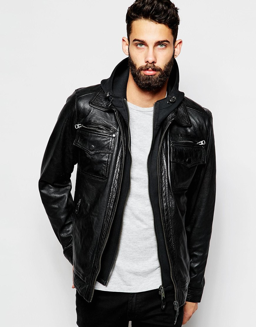 Schott nyc Leather Jacket With Hoodie Insert in Black for Men | Lyst