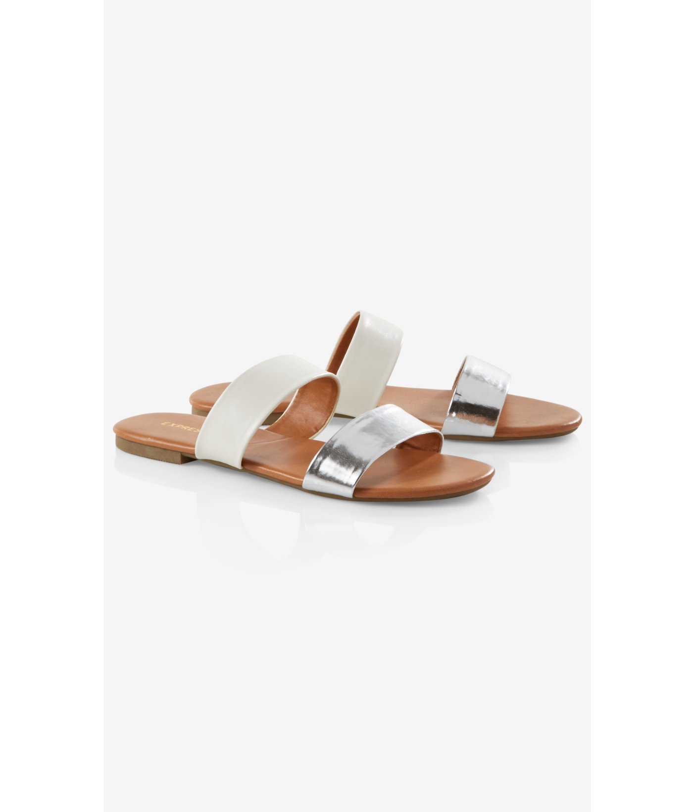 Express Two Strap Slide Sandals In White Lyst