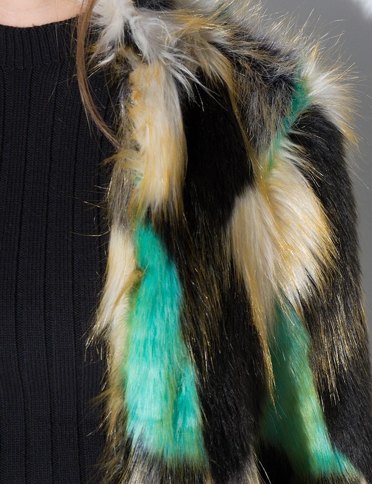 Lyst Pixie Market Multi Color Faux Fur Coat