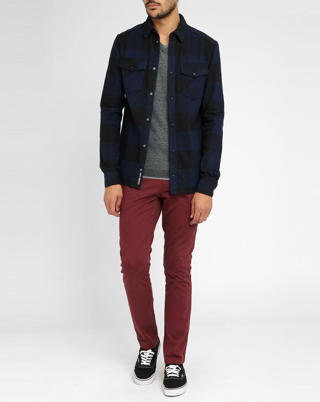 eleven paris navy black plaid flannel overshirt in blue for men lyst. Black Bedroom Furniture Sets. Home Design Ideas