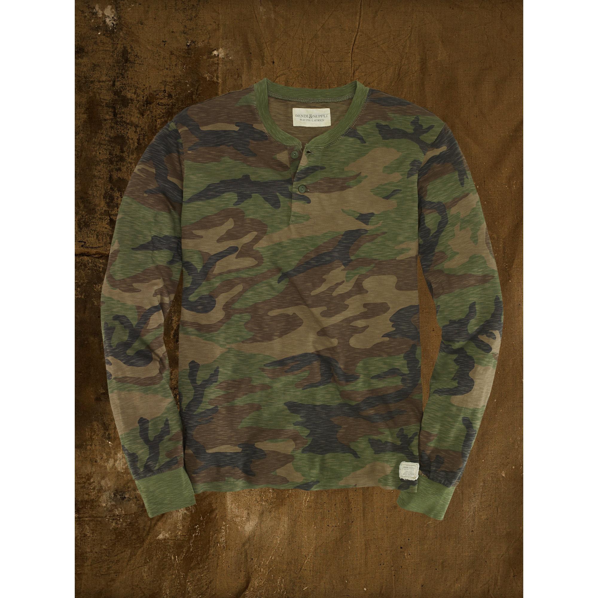 234ef2bd Denim & Supply Ralph Lauren Military Camouflage Henley in Green for ...